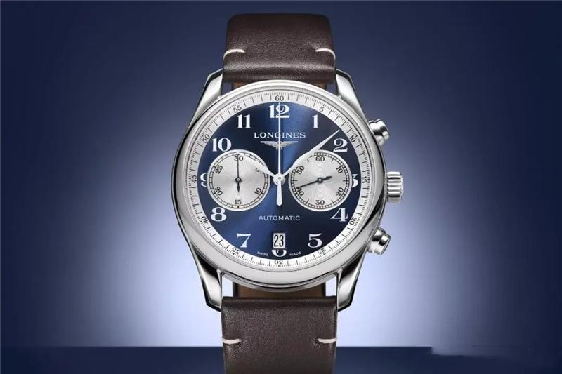 浪琴为欧洲最大的手表零售商(宝齐莱)推出了符合优雅形象的名匠系列计时码表蓝色版